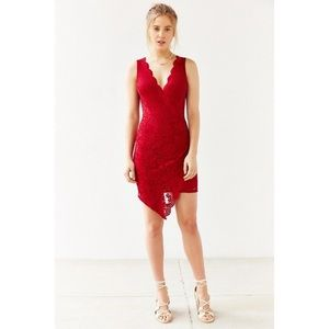 Urban Outfitters Red Surplice Bodycon Lace Dress S